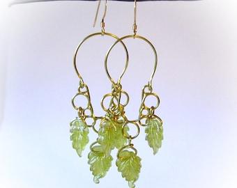 Chandelier Wire Earrings Green Leaves - Free Domestic Shipping