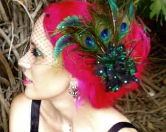 AZUCENA Black Peacock Rose Fascinator Brooch & Removable Birdcage Veil Set w/ Swarovski crystals / Tango / Masquerade / Day of the Dead
