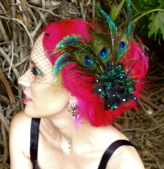 The Azucena - Black Peacock Rose Fascinator Brooch and Removable Birdcage Veil Set - by Moonshine Baby