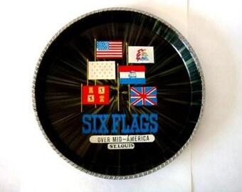 Vintage Souvenir Tray Six Flags Serving Tray, Barware Serving Tray, Over Mid America St. Louis, Retro Amusement Theme Park