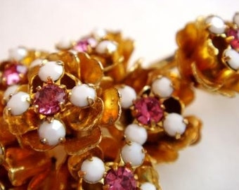 Vintage Pink Flower Rhinestone Brooch, Prong Set Large Flower Rhinestone Pin, 60s Costume Jewelry