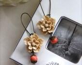 Light Brown, Almond Sakura, Coral Orange Swarovski Pearls Long Flower Earrings. Christmas Gift. For Sister. Bridesmaids Gifts. Fall Inspired