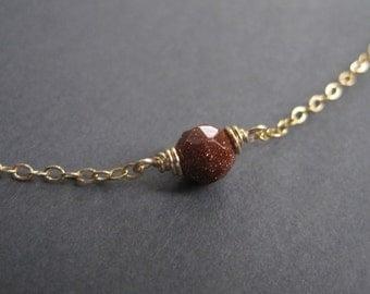 Goldstone Necklace - Minimal  Necklace - Miniature Bead Necklace - Gold Goldstone Necklace  - Dainty Gold Necklace - Tiny Bead Necklace