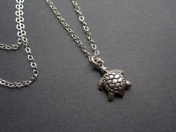 Tiny Sterling Silver Turtle Neclace - Sterling Silver Turtle Necklace - Turtle Necklace - Nature Necklace