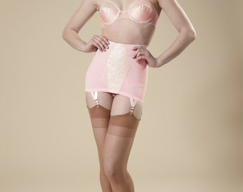 Pin-Up Girdle Garter Skirt Cotton Candy Pink Lacy Vintage Style Open Bottom
