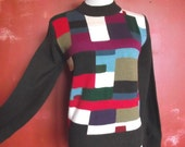 70s Sweater / Vintage Colorblock Acrylic Sweater / Knit Top / Sz S to Sz M