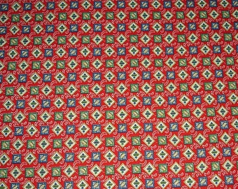 Vintage Calico Fabric, Red background with Blue, Green, White Print - 10 1/2 x 44 inch.