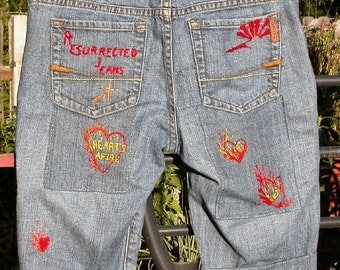 Hearts Afire, skinny girl shorts, Resurrected Jeans, patched embroidered, restyled, repaired, Ezra Fitch, boho, festival