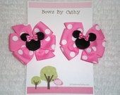 Mini Minnie Mouse Hair Bows for Pigtails