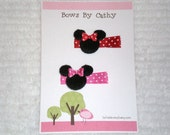 Minnie Mouse Hair Clips - 1 Red and 1 Hot Pink