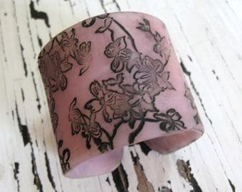 SALE Translucent Lavender Cuff Bracelet Asian Dogwoood, Handmade Jewelry by theshagbag on Etsy