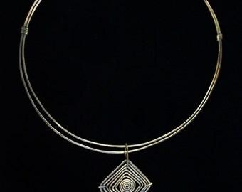 OOAK Diamond Spiral Neck Collar Verdigris Solid Brass with Labradorite