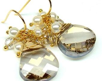 Bridesmaids Earrings...Silver Shade Pear Swarovski Crystal Cream Swarovski Pearls Earrings 22K Gold Plated...