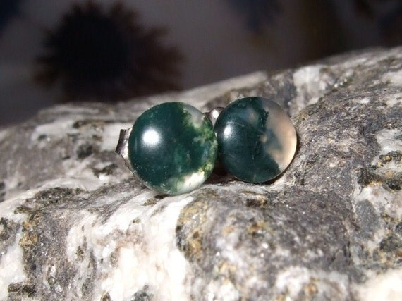 Green Moss Agate 6mm Studs Stud Earrings Earings Titanium Post and Clutch Handmade in Newfoundland Talisman for a Gardener Hypo Allergenic