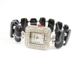 Beaded Bracelet Watch - Sardonyx and Metallic Silver Stretchy Band Watch with Swarovski Crystal Watch Face