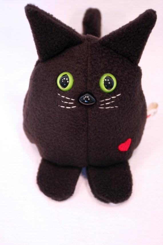 black cat whee one stuffed animal stuffed toy plushie. Black Bedroom Furniture Sets. Home Design Ideas