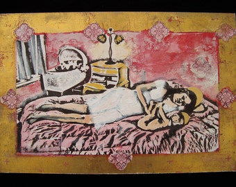 Modern Madonna - 8 x 12 Original Mixed Media on Wood Panel