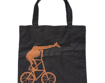 Giraffe on a tall BIKE Screen Printed Tote Book Bag