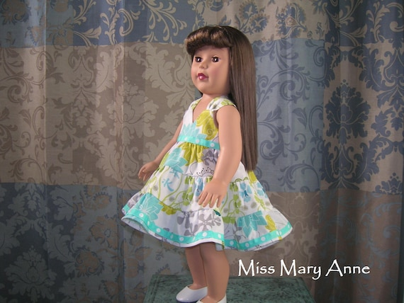 18 Inch Doll Clothes  Party Dress - Green, Light Blue, Yellow, and Grey Floral on White