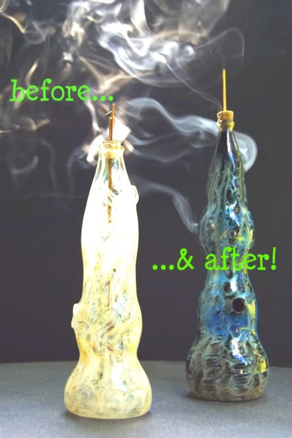 "Color Changing Hand Blown Glass Incense Burner: Lg. ""Swirls"""