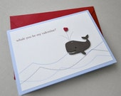 Valentines day card - whale