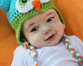 Baby Owl Hat Mod Blue, Lime Green