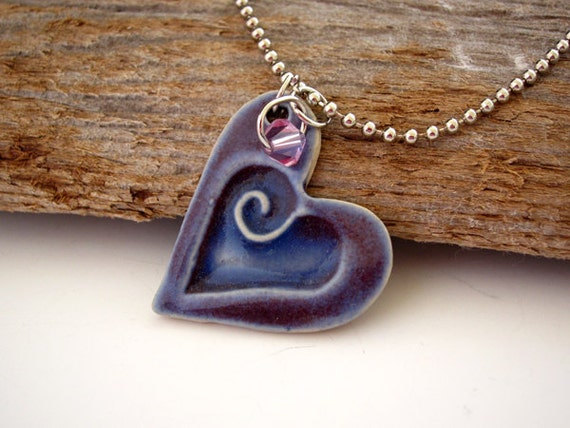 Purple Charm Necklace - Heart Pendant - Ready to Ship