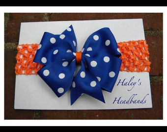 GATOR BLUE with White Polka Dots Bow Orange Stretch Headband