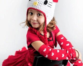 Crochet Kitty - Crochet Earflap Beanie