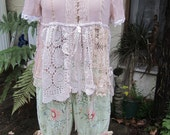 SALE.. sale.. SALE... Vintage Kitty... latte sheer overtop.. lace, vintage crochet, ooak, upcycled.. doilies.. med-large