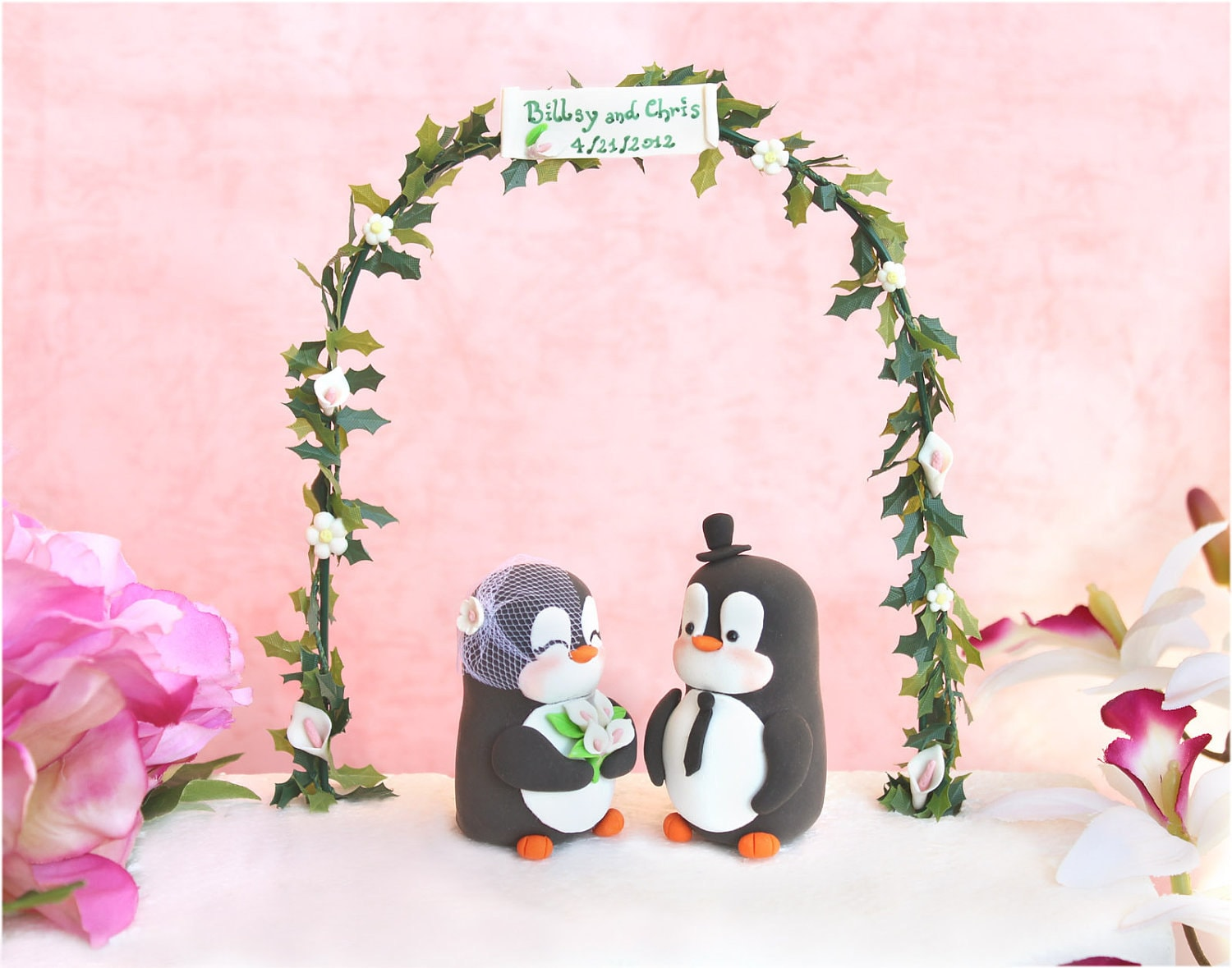 Unique Wedding cake topper elegant Penguins with floral arch
