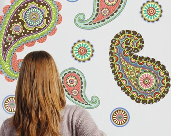 Paisley Dot Wall Decals, Removable and Reusable