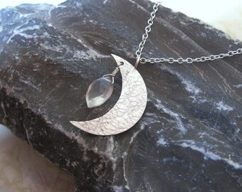 Silver Moon & Moonstone Necklace- Metal Work