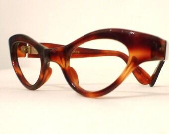 sale Vintage 50s 60s Small Cat Eye Frame France/ Tortoise Shell Horn Rimmed Eyeglasses or Sunglasses