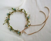 Boho Chic Halo Flower Crown Woodland hair wreath headband music festival Hippie Bride floral Aqua Teal AmoreBride wedding headpiece