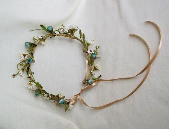 Boho Chic Halo Flower Crown Woodland hair wreath headband music festival Hippie Bride floral Aqua Teal AmoreBride wedding headpiece