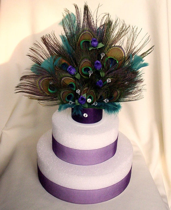 Peacock Feather Wedding Cake: Over The TOP Peacock Cake Topper Original By By AmoreBride On Etsy