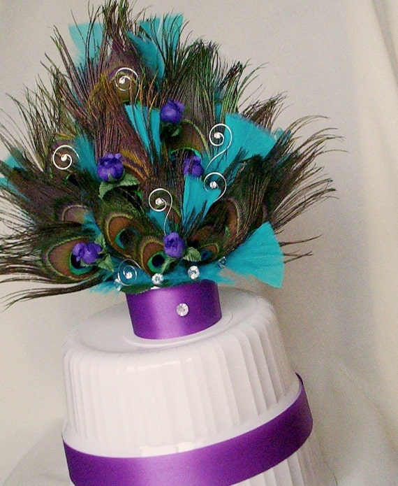 Peacock Wedding Cake Top Purpleturquoise