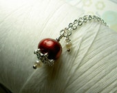 Precious Little Pearl - red pearl necklace / pearl necklace / red pearl / red necklace / wedding jewelry / pearl jewelry / bridal necklace
