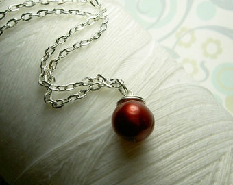 Quiet Solitude - red pearl necklace / pearl necklace / red necklace / pearl jewelry / wedding jewelry / single pearl necklace
