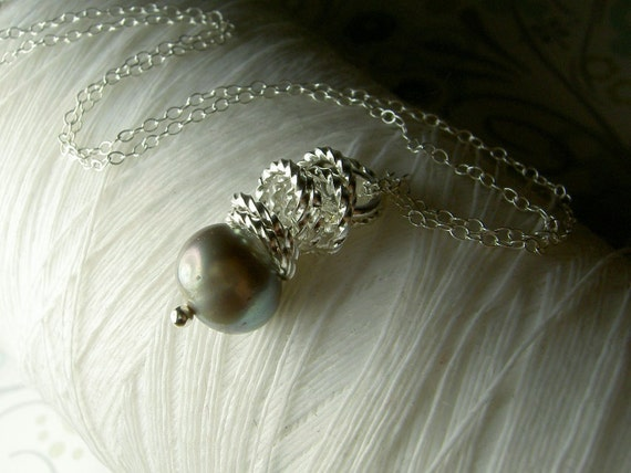 Jump In the Water is Fine - pewter pearl necklace / grey pearl necklace / gray pearl necklace / pearl necklace / bridal jewelry