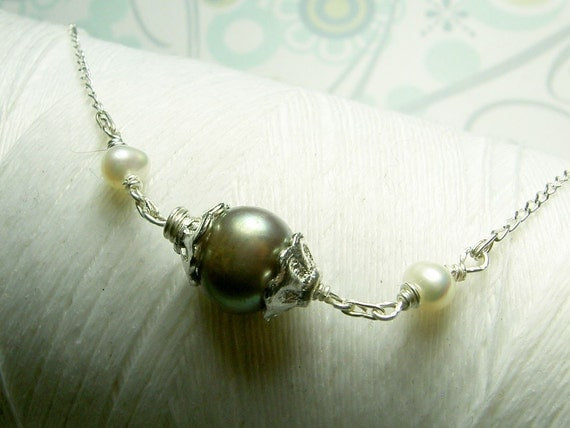 Ghostly Victorian - pewter pearl necklace / sideways necklace / grey pearl necklace / pearl necklace / victorian necklace / pearl jewelry