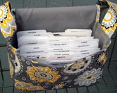 "Large 4"" Size Coupon Organizer / Coupon Bag /Budget Holder Box Attaches to Your Shopping Cart  Sunshine Floral on Gray - Select Your Size"