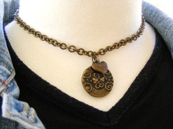 Antique Brass Button with Heart Charm Pendant Upcycled