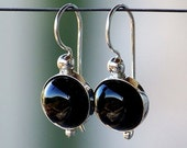 Smooth Black Onyx Gemstones, Bezel Set in Sterling Silver with Fancy Leverback Earrings
