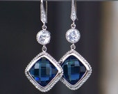 Faceted Sapphire Blue Crystals Set in Silver with Cubic Zirconia, Silver Dangle Earrings