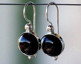 Smooth Black Onyx Gemstones, Bezel Set in Sterling Silver with Fancy Leverback Earrings