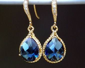 Sapphire Blue Crystal Teardrops Set in Gold on Pave' Diamond French Earwires