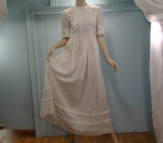 White Lace Maxi Dress- 1970's Regency Inspired- Empire Waist, Ribbon Trim