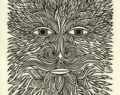 The elements. Fire. Linocut print